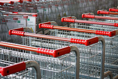 Shopping carts on parking lot Royalty Free Stock Images