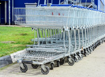 Shopping carts on a parking lot. Stock Image