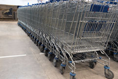 Shopping carts on a parking lot. Close Up Royalty Free Stock Image