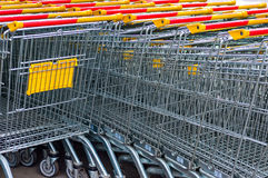 Shopping carts on parking lot Royalty Free Stock Photography