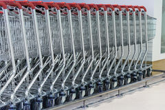 Shopping carts on a parking lot Stock Photo