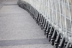 Shopping carts. On parking lot Royalty Free Stock Images
