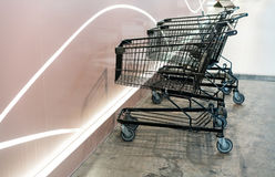 Shopping carts on a parking lot Stock Image
