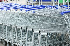 Carts. Shopping carts in the row Royalty Free Stock Photo
