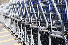 Shopping carts. In a row Stock Image