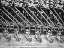 Shopping carts in a row Royalty Free Stock Photography