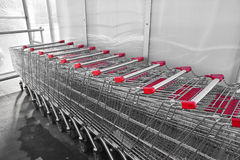 Shopping carts. Row of empty shopping carts Stock Images