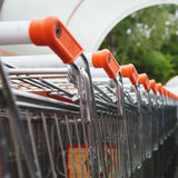 Shopping carts. Row of shopping carts near supermarket Royalty Free Stock Image