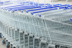 Shopping carts. In row, outdoors Stock Photography