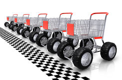 Shopping carts row waiting. Shopping carts row standing before starting line Stock Photography