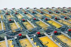 Shopping carts in a rows Stock Photos