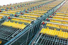 Shopping carts in a rows Stock Image