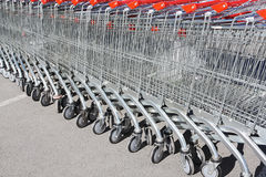 Shopping carts in rows Royalty Free Stock Photos