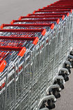 Shopping carts in rows Stock Image