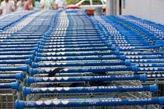 Shopping carts of Sam's Club Stock Photo