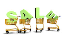 Shopping carts, selling, letter 3d rener. Snowman pushes shoppingcart with letters. Christmas shoppingcart Sale theme. Raster version, file also included in the Stock Images