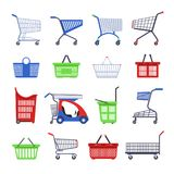 Shopping carts or shop supermarket trolley baskets vector different types flat isolated icons set Stock Photo