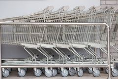 Shopping carts, Shopping cart trolley in row retail department store, royalty free stock images