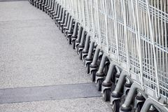 Shopping carts. On parking lot Royalty Free Stock Image
