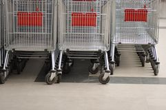 Shopping carts. In a store Royalty Free Stock Photography