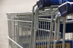 Shopping carts. Stacked shopping carts outside a store Stock Photo