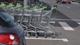 Shopping carts. In a store Royalty Free Stock Image