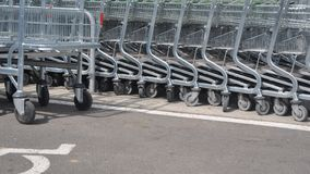 Shopping carts. In a store Royalty Free Stock Photos