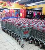 Shopping carts at supermarket. Shopping carts at entrance to a supermarket Tianjin China Stock Photos