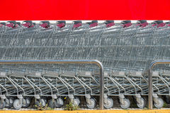 Shopping carts from a supermarket close up Royalty Free Stock Photo