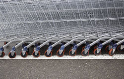 Shopping carts in a supermarket Stock Image