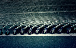 Shopping carts in a supermarket Royalty Free Stock Photo