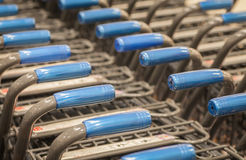 Shopping carts at supermarket entrance Royalty Free Stock Photography