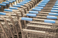 Shopping carts at supermarket Stock Photo