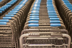 Shopping carts at supermarket Royalty Free Stock Photos