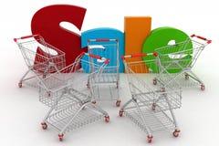 Shopping carts and text Royalty Free Stock Image