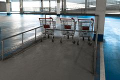 Shopping carts to take - Free vacant parking lot space in a Shopping centre multi story car park royalty free stock images