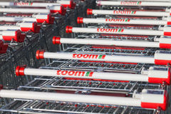 Shopping carts from toom hardware store Royalty Free Stock Photos