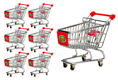 Shopping carts or trolleys. Side illustration of empty modern shopping carts or trolleys, isolated on white background Stock Photography