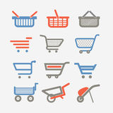 Shopping carts and trolleys Royalty Free Stock Images