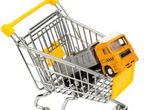 Shopping carts and trucks Royalty Free Stock Image