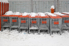 Shopping carts snow Stock Photo