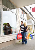 Shopping caucasian couple royalty free stock photography