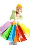 Shopping caucasian girl stock images