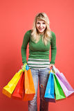 Shopping caucasian girl Royalty Free Stock Photo