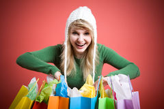 Shopping caucasian girl Stock Images