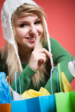 Shopping caucasian girl shushing Stock Photos