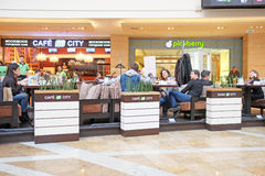Shopping center Afimall City people sit in cafes Stock Photos