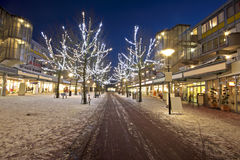 Shopping center in Amsterdam the Neth. Shopping center at christmas time at night in Amsterdam the Netherlands Royalty Free Stock Photography