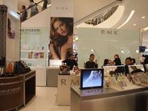 Shopping center, Bangkok, Thailand. BANGKOK, THAILAND - JANUARY 8: Cosmetics for sale on display at the Siam Paragon shopping center at the grand opening Stock Photos