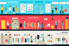 Shopping Center and Boutique Rooms flat shop interior concept web.. Fashion Clothes Customers Mall Retail Purchase. Vector Illustration Royalty Free Stock Image